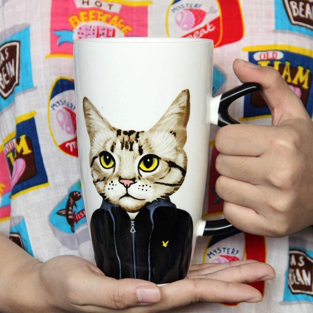 Novelty Coffee Ceramic Mug with Cartoon Cat Printing,Funny Porcelain Latte Tea Cup, 20 ounce 6