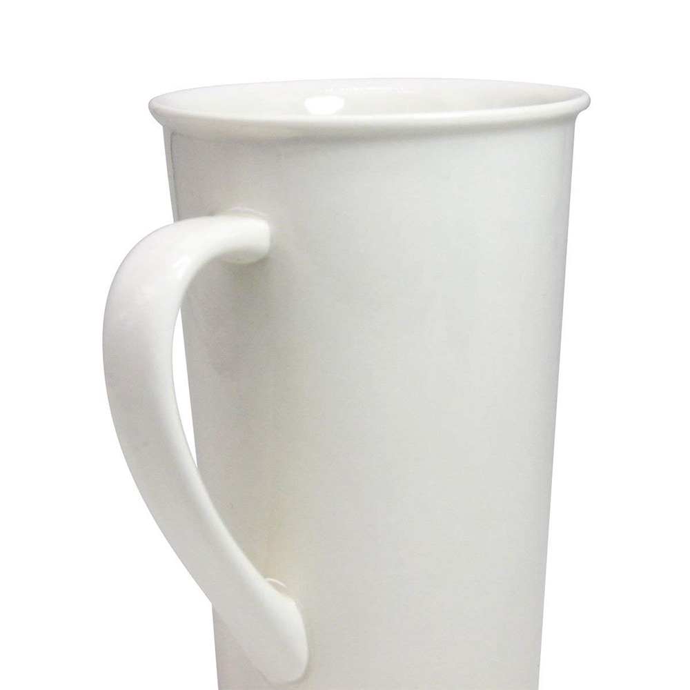 Tall Ceramic Coffee Mug, Large Travel Milk Cup Porcelain Mugs, White, 20 ounces 2