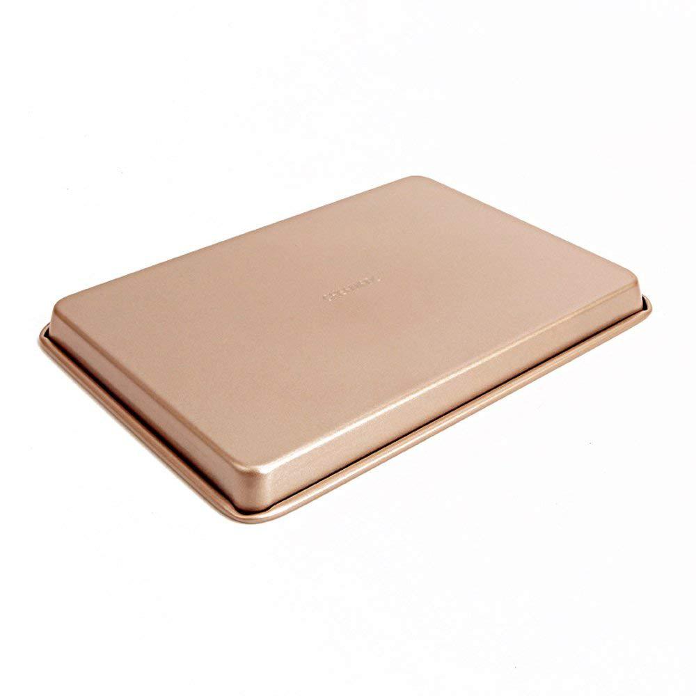 Large Baking Pan 13 inch,Non Stick Carbon Steel Bakeware Cookie Sheet Roasting Tray, Gold 5