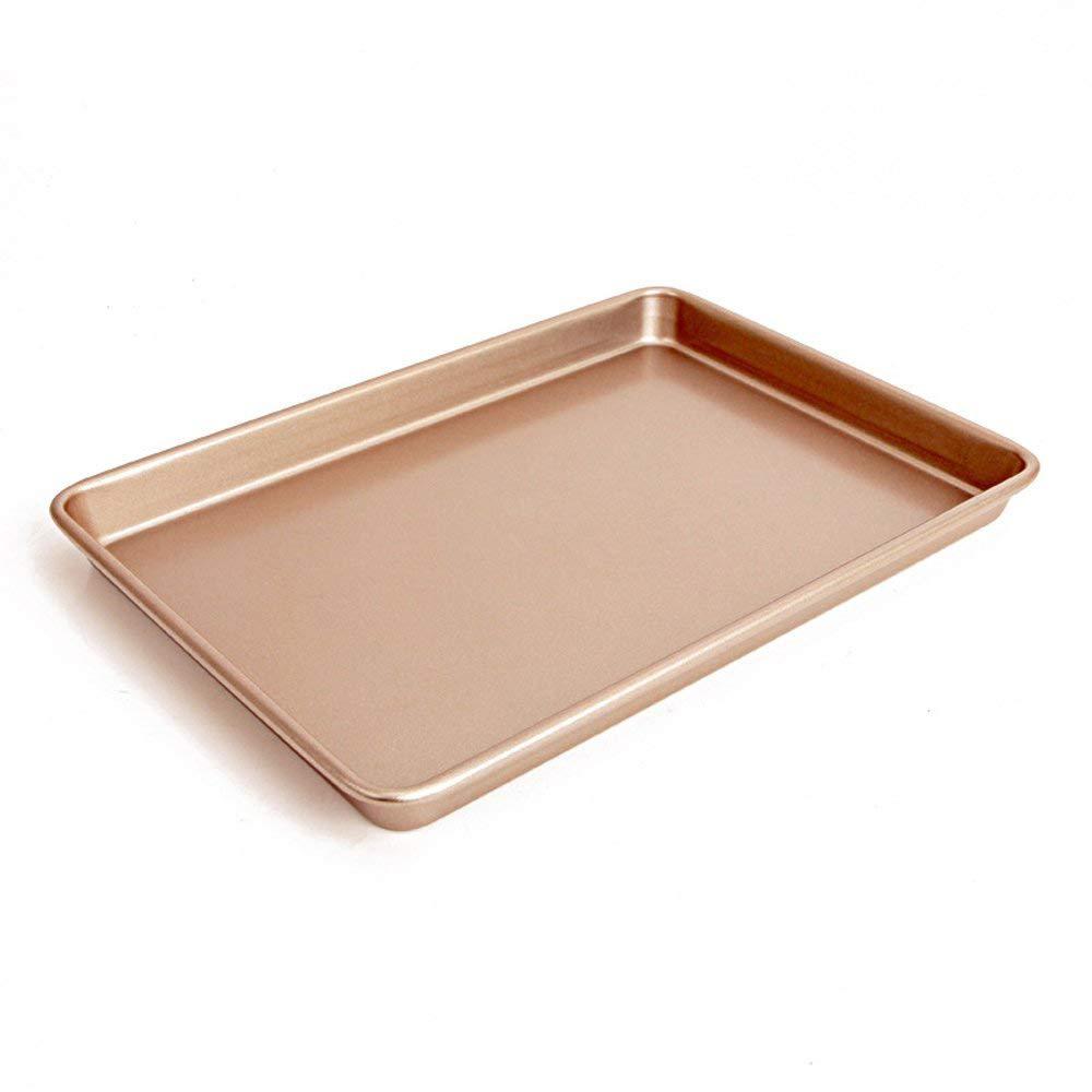 Large Baking Pan 13 inch,Non Stick Carbon Steel Bakeware Cookie Sheet Roasting Tray, Gold 6