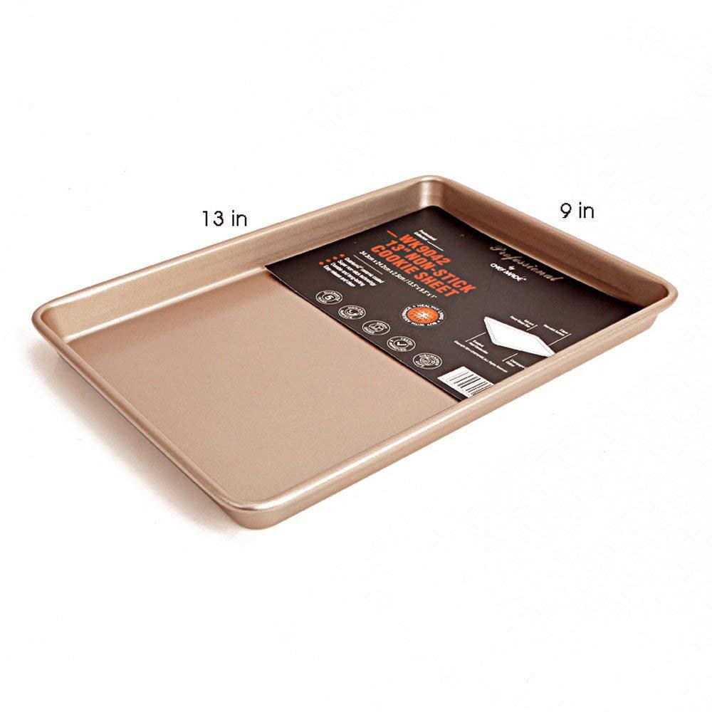 Large Baking Pan 13 inch,Non Stick Carbon Steel Bakeware Cookie Sheet Roasting Tray, Gold 10