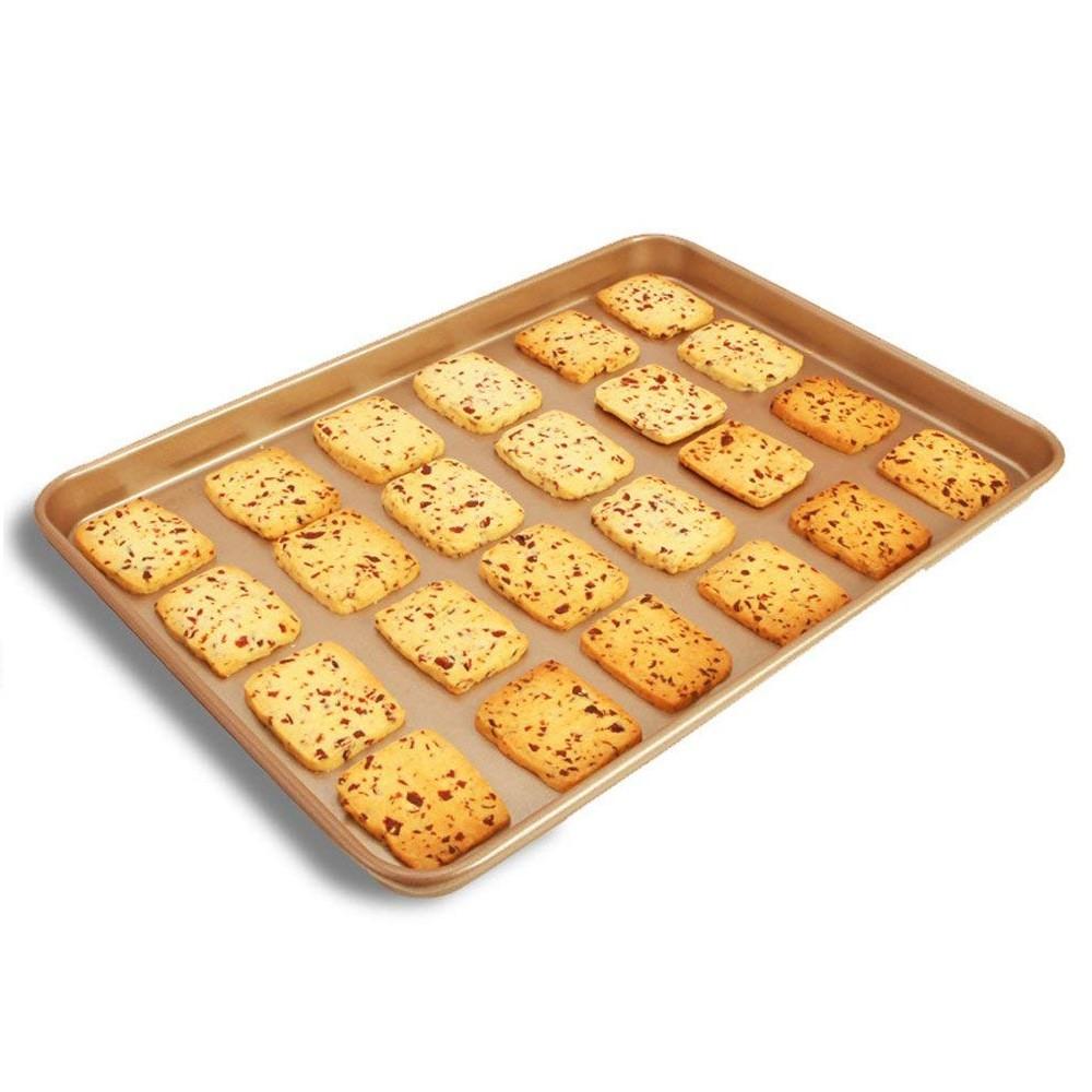 Large Baking Pan 13 inch,Non Stick Carbon Steel Bakeware Cookie Sheet Roasting Tray, Gold 11