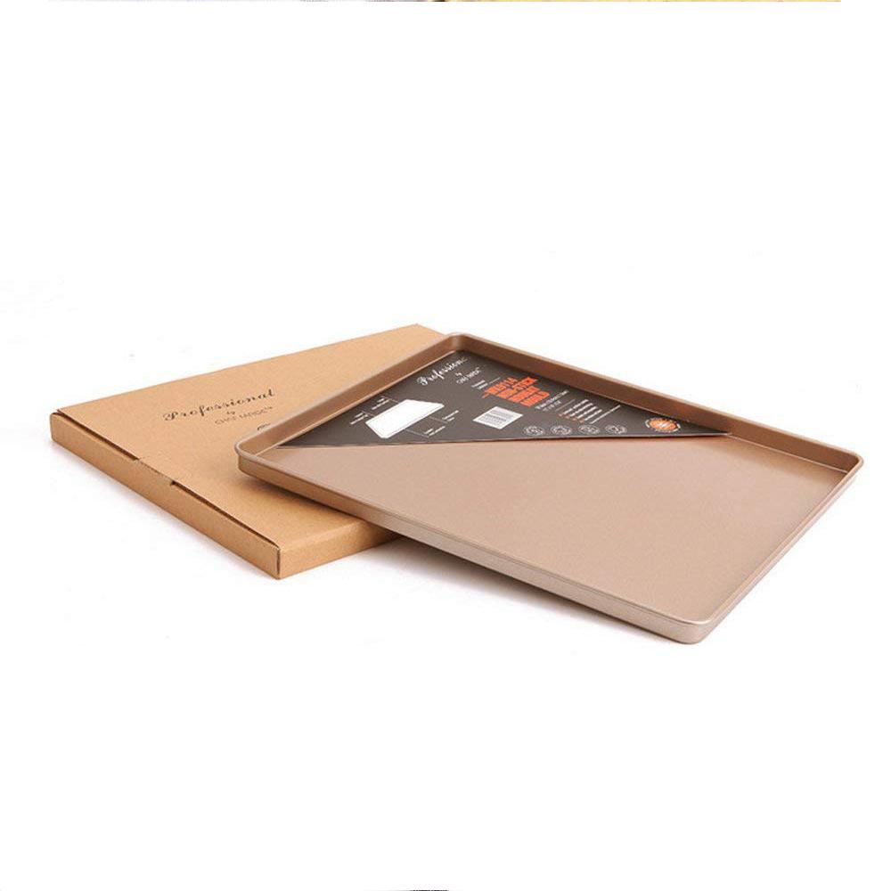 Nonstick Carbon Steel Baking Sheet 12 inch,Square Cake Pan Cookie Sheet, Gold 5