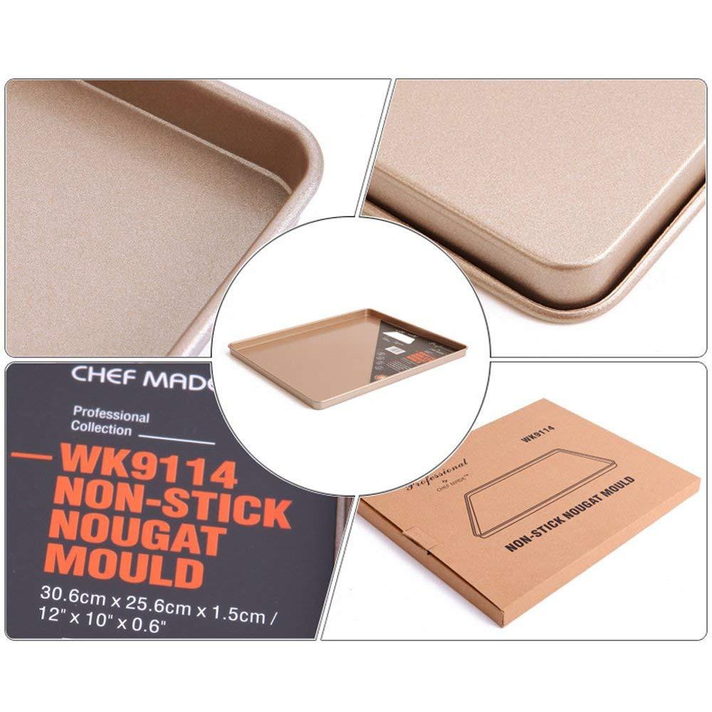 Nonstick Carbon Steel Baking Sheet 12 inch,Square Cake Pan Cookie Sheet, Gold 6
