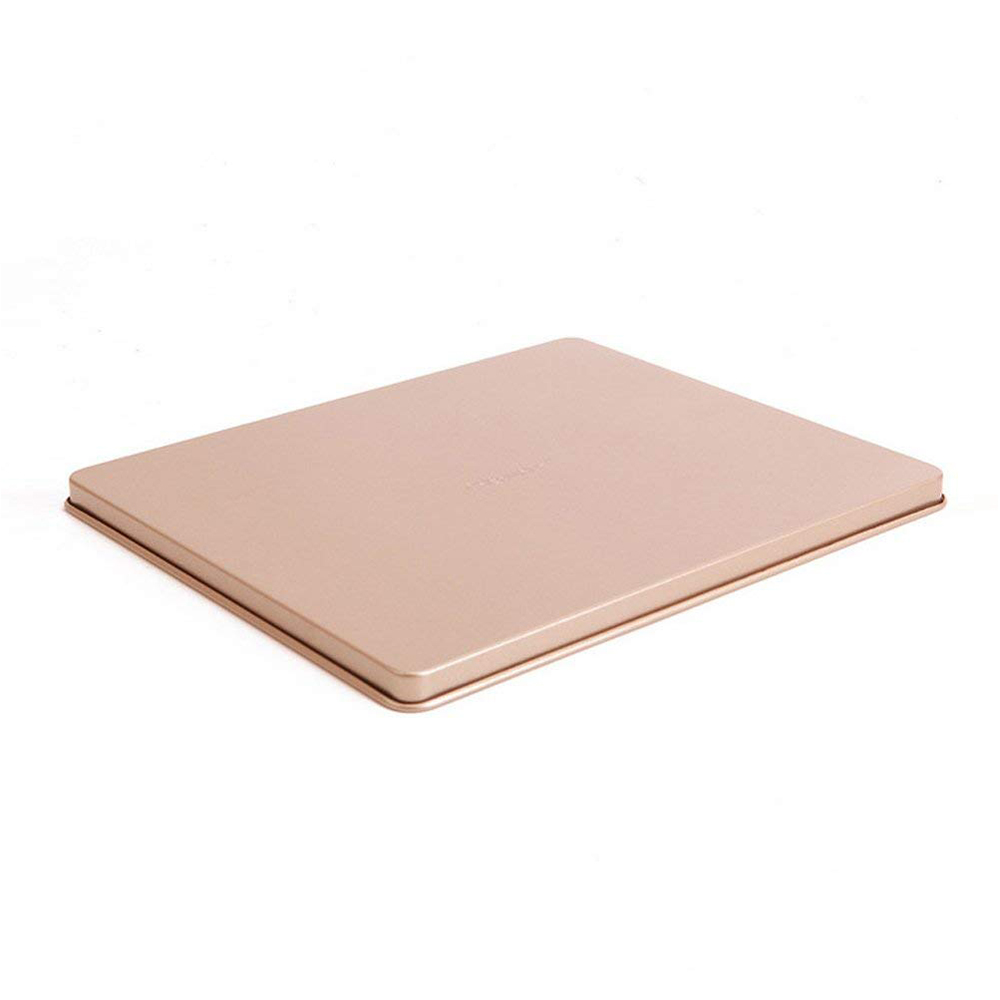 Nonstick Carbon Steel Baking Sheet 12 inch,Square Cake Pan Cookie Sheet, Gold 7