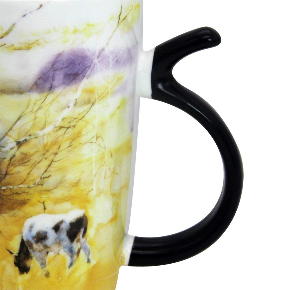 Travel Coffee Ceramic Mug with Sealed Lid, Large Porcelain Latte Tea Cup with Fancy Printing, 20 Oz 5