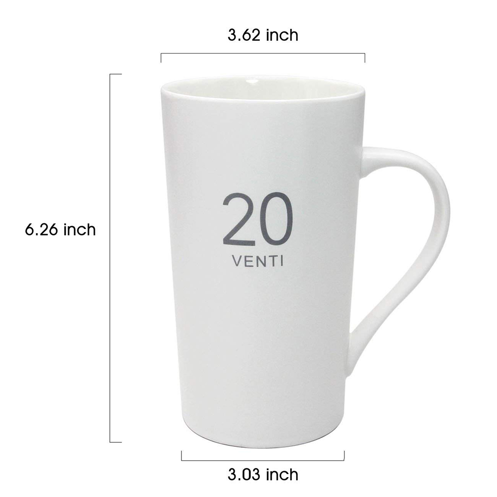 Ceramic Milk Mug 20-Ounce, Number Pattern Tall Ceramic Mug for Coffee, Soups, Hot Chocolate 3