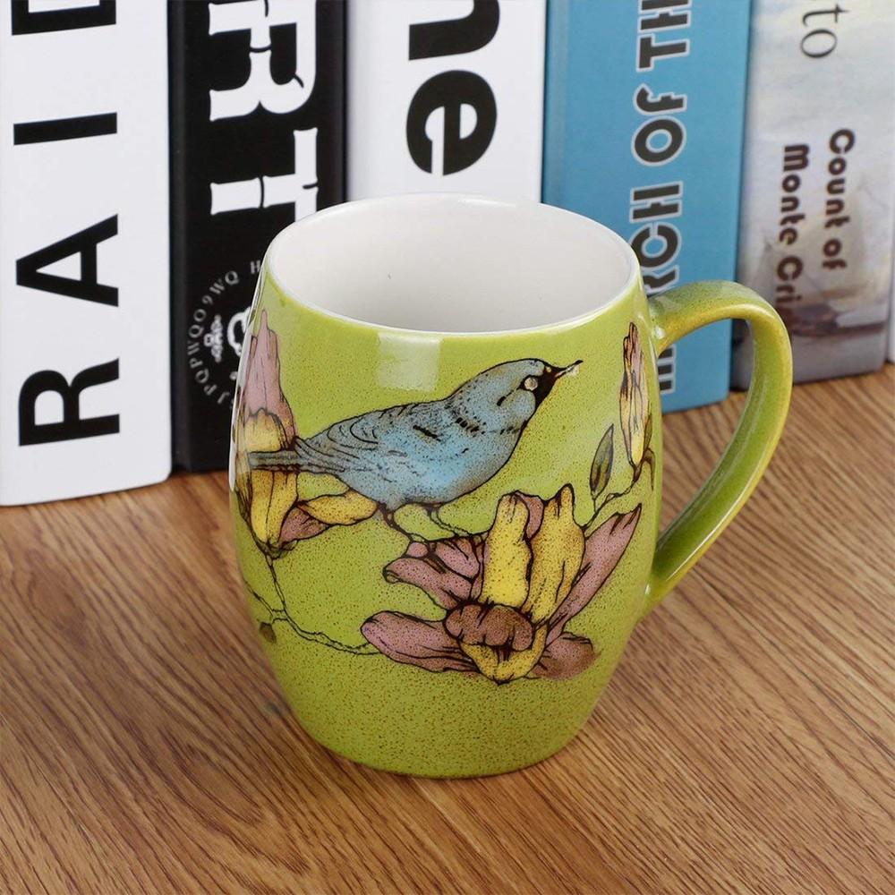Porcelain Coffee Mug with Flower and Tree Bird Printing,12 Ounce Ceramic Coffee Mug for Coffee/Tea/Cocoa 6
