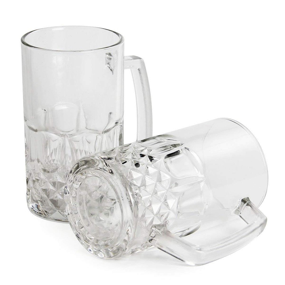 Large Glass Beer Mugs 20 Ounces, Set of 2 Beer Stein Wedding Party Beer Glasses 0