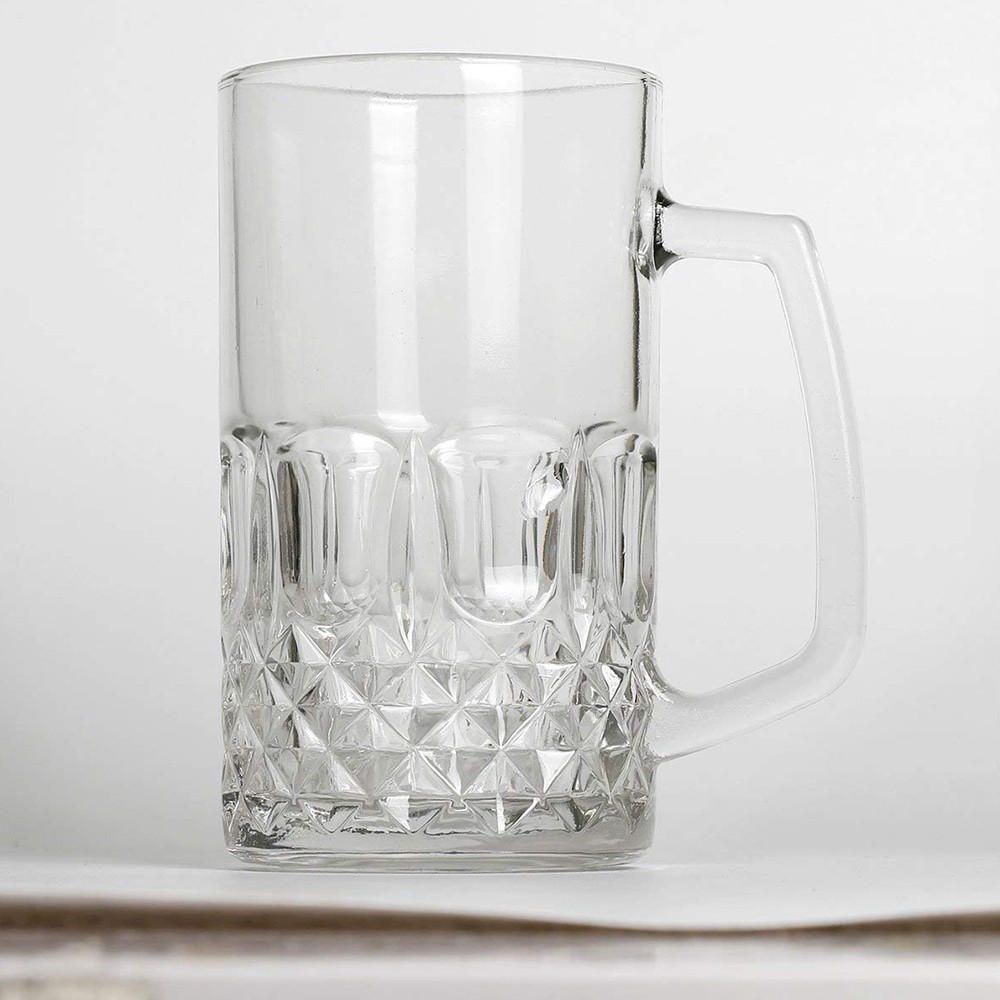Large Glass Beer Mugs 20 Ounces, Set of 2 Beer Stein Wedding Party Beer Glasses 4