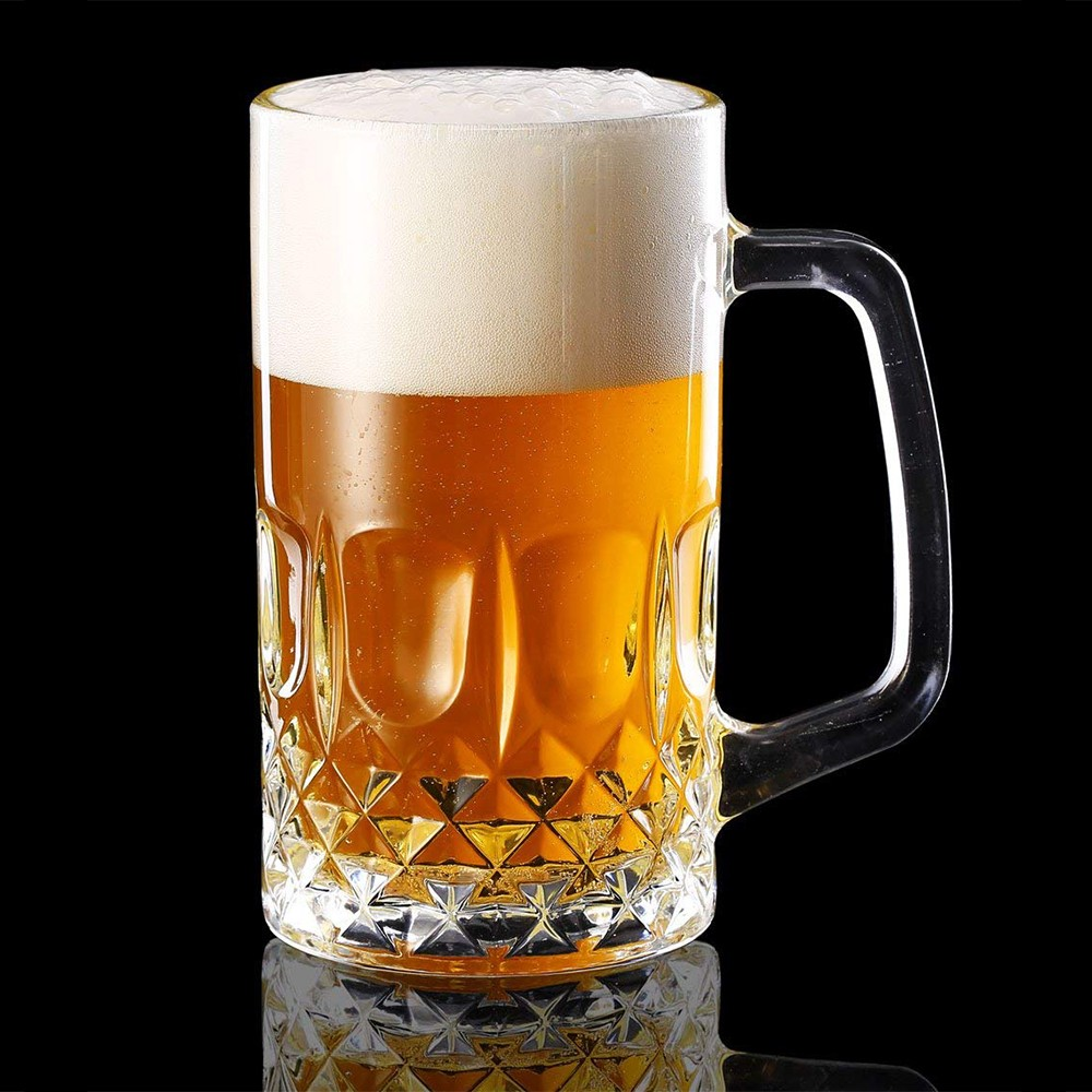 Large Glass Beer Mugs 20 Ounces, Set of 2 Beer Stein Wedding Party Beer Glasses 3