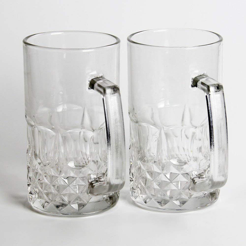 Large Glass Beer Mugs 20 Ounces, Set of 2 Beer Stein Wedding Party Beer Glasses 5