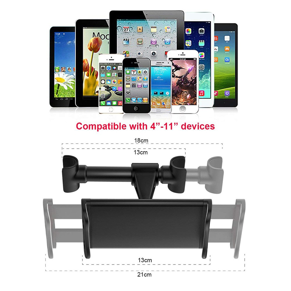 Universal Car Headrest Mount Holder, 360°Rotatable Car Seat Tablet Holder for 4 - 11 Inch Smartphones and Tablets 11