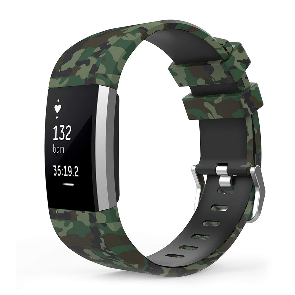 Camo Fitbit Charge 2 Silicone Band, Adjustable Replacement Sport Strap Printed Bands with Classic Buckle for Fitbit Charge 2 11