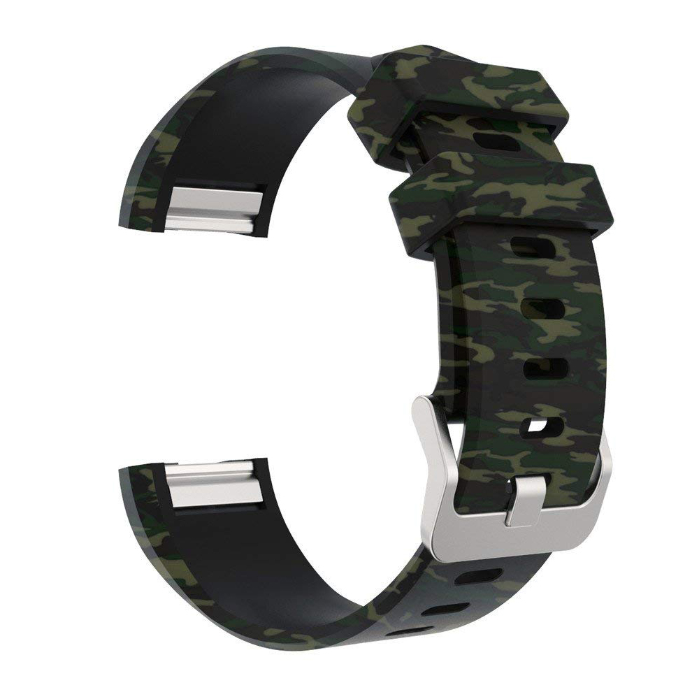 Camo Fitbit Charge 2 Silicone Band, Adjustable Replacement Sport Strap Printed Bands with Classic Buckle for Fitbit Charge 2 14