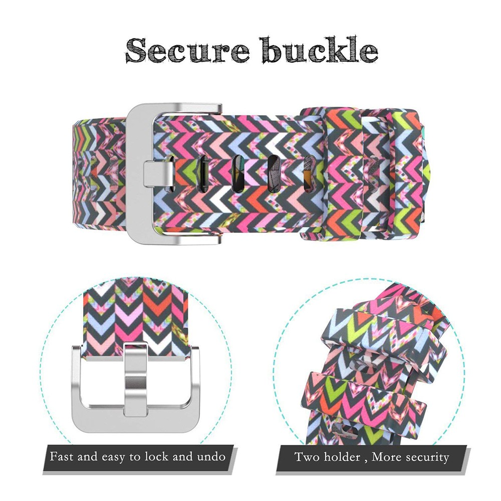 Fitbit Charge 2 Silicone Replacement Band, Adjustable Printed Design Bands for 2016 Fitbit Charge 2 Heart Rate Fitness Wristband 6
