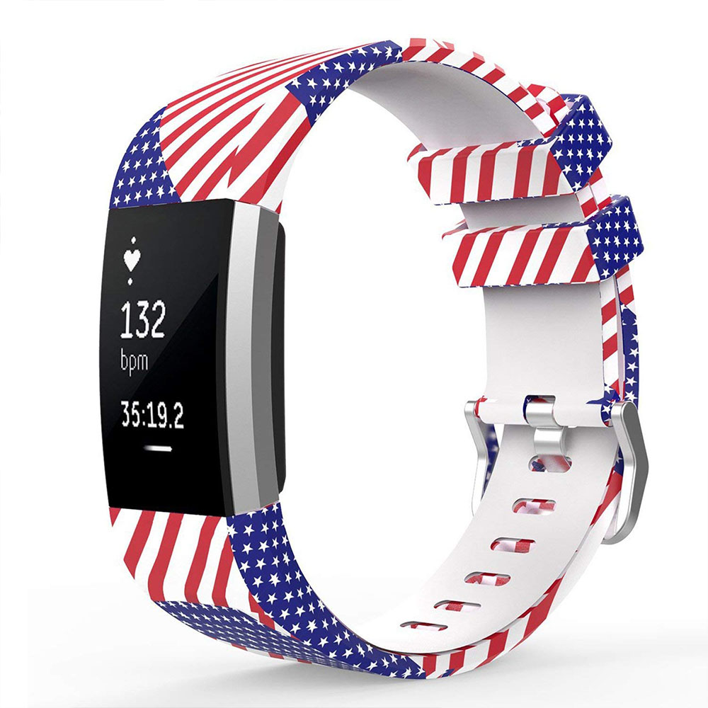 Fitbit Charge 2 Silicone Replacement Band, Adjustable Printed Design Bands for 2016 Fitbit Charge 2 Heart Rate Fitness Wristband 16