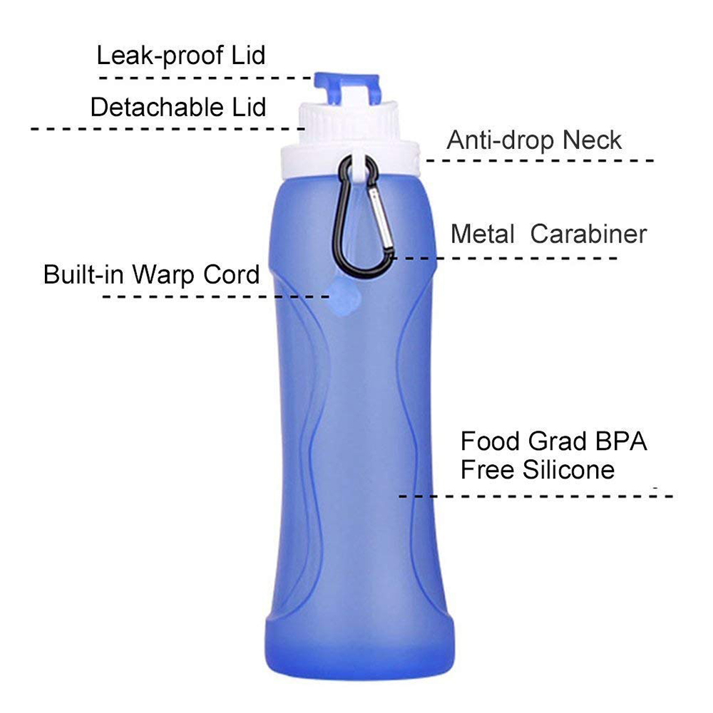Portable Silicon Collapsible Water Bottle, BPA Free Sports Foldable Water Bottle for Cycling, Camping, Hiking, Gym 2