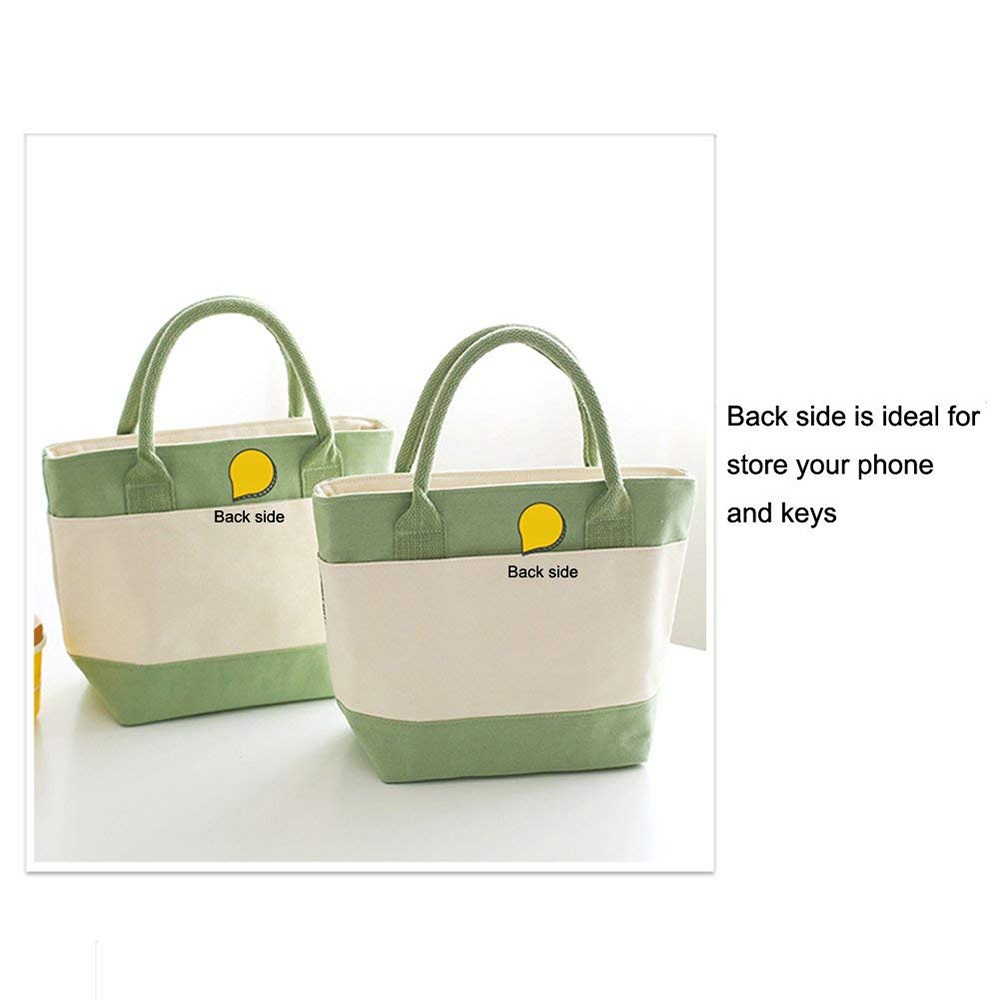 Simple Plant Leaves Pattern Insulated Lunch Bag with Zipper Closure, Reusable Canvas Lunch Tote Bag for Women Kids Girls 2