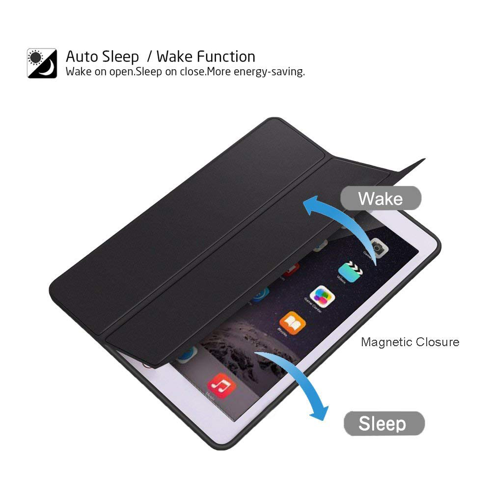 Ultra Slim New iPad 9.7 Inch 2018 Case, Trifold Stand Folio Smart Cover Case with Auto Sleep/Wake Function and Pencil Holder for Apple iPad 9.7 inch 13