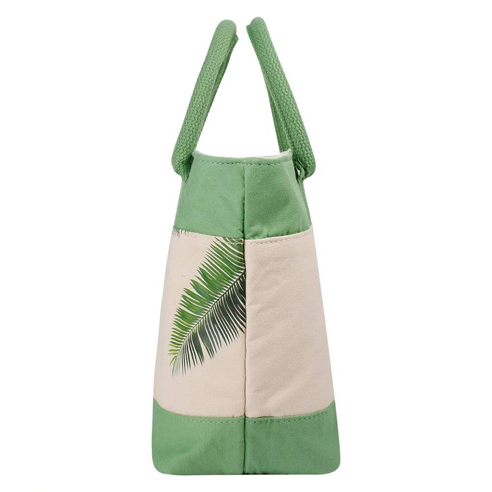 Simple Plant Leaves Pattern Insulated Lunch Bag with Zipper Closure, Reusable Canvas Lunch Tote Bag for Women Kids Girls 10