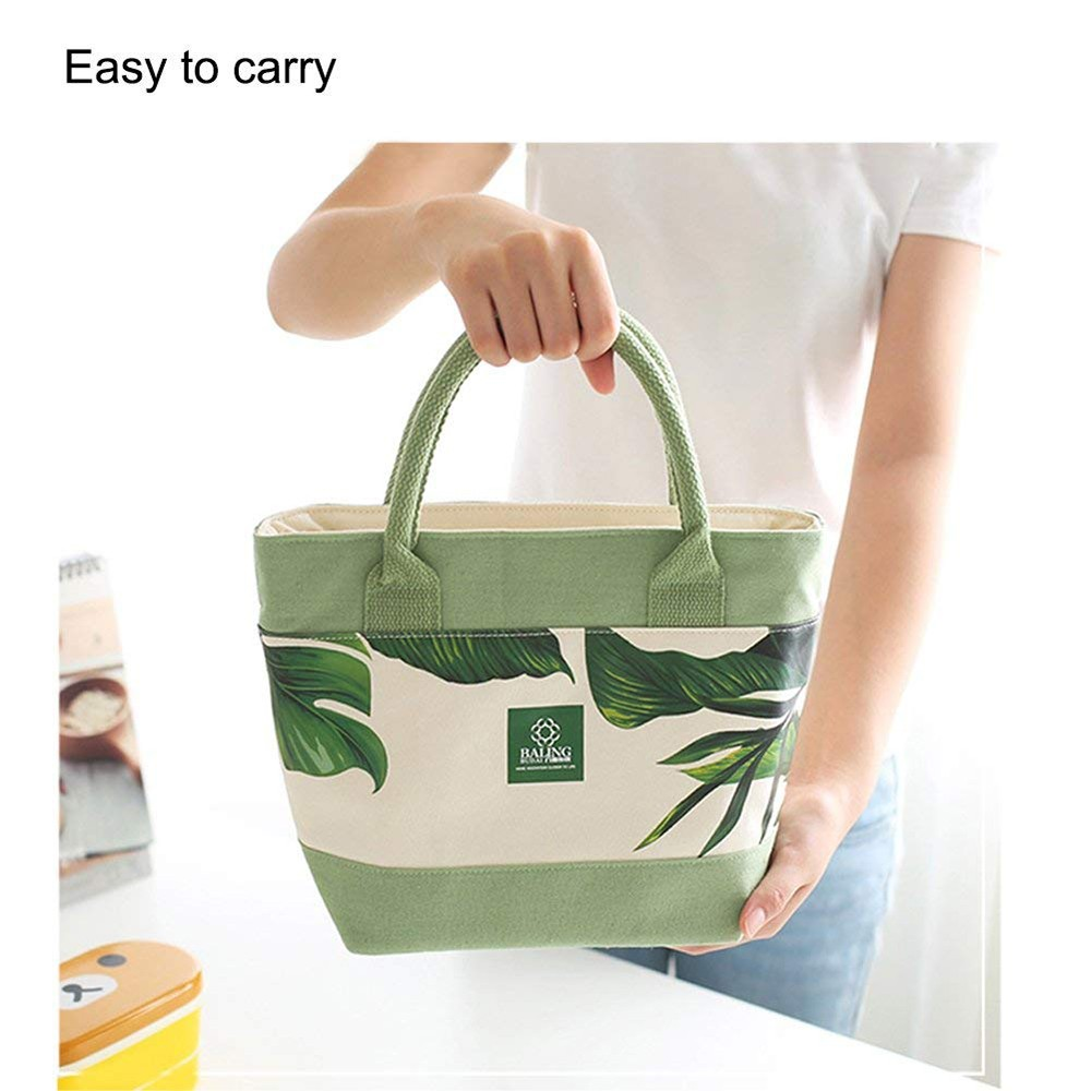 Simple Plant Leaves Pattern Insulated Lunch Bag with Zipper Closure, Reusable Canvas Lunch Tote Bag for Women Kids Girls 11