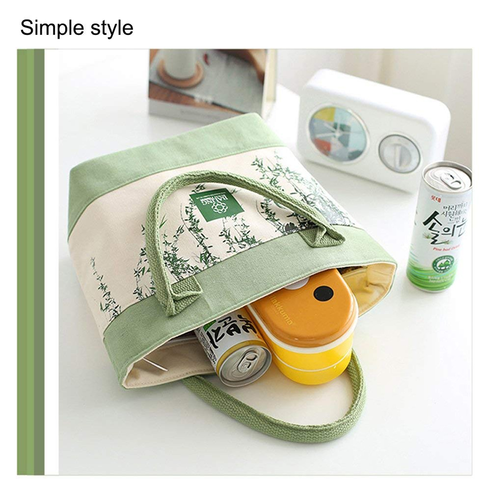 Simple Plant Leaves Pattern Insulated Lunch Bag with Zipper Closure, Reusable Canvas Lunch Tote Bag for Women Kids Girls 14