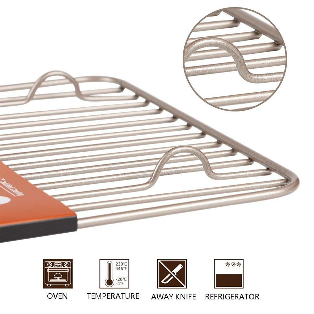 Oven-Safe Baking Rack & Cooling Rack, Rust-Resistant Roasting Rack Compatible with Various Baking Sheets Oven Pans, 8 x 12 inches 8