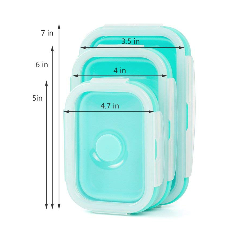 Collapsible Food Storage Containers, BPA-Free and Microwave Safe Silicone Bento Lunch Boxes, Pack of 3 2