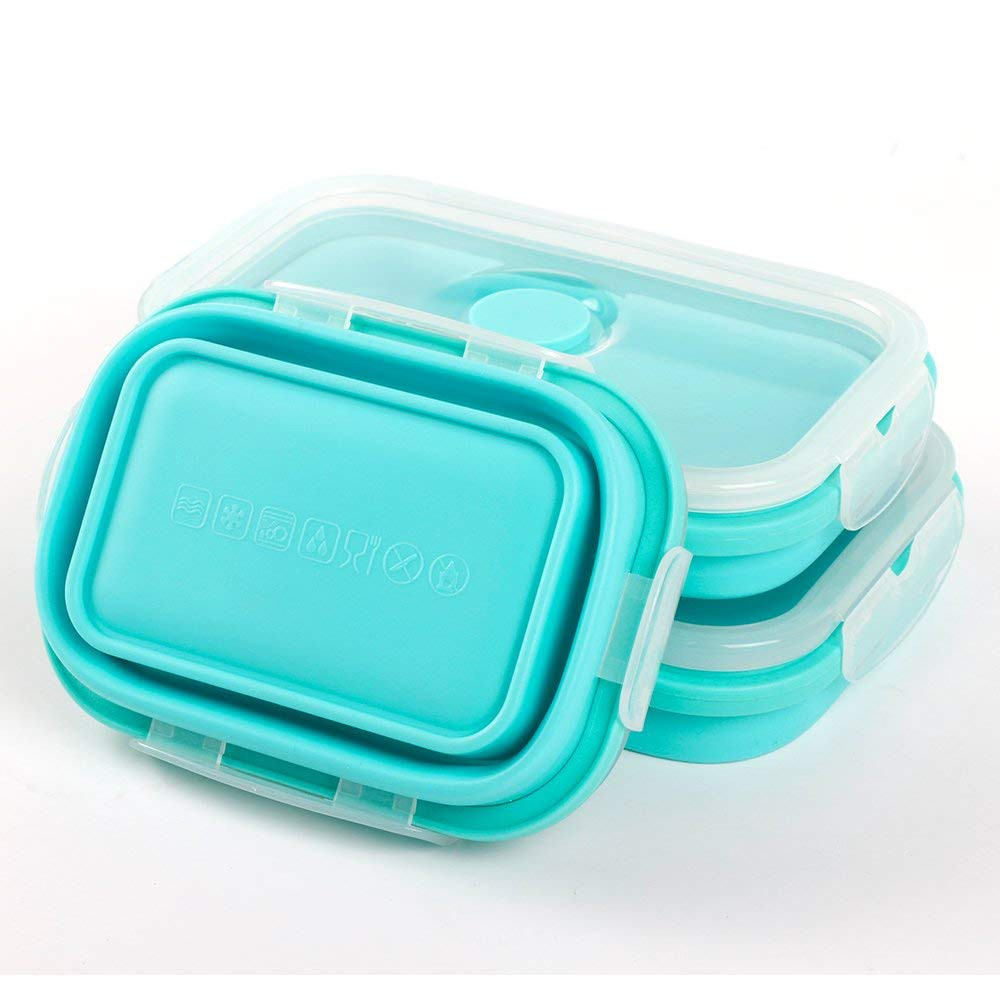Collapsible Food Storage Containers, BPA-Free and Microwave Safe Silicone Bento Lunch Boxes, Pack of 3 4