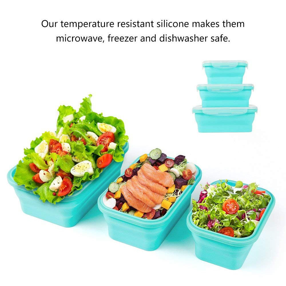 Collapsible Food Storage Containers, BPA-Free and Microwave Safe Silicone Bento Lunch Boxes, Pack of 3 5