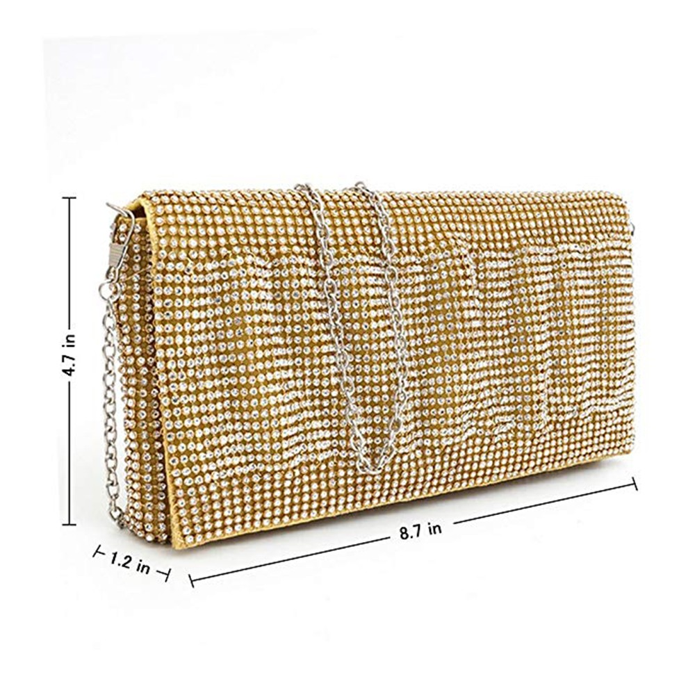 Exquisite Wedding Party Clutch Purse, Sparkling Crystal Ladies Evening Bag Rhinestone Handbag - Gold 1