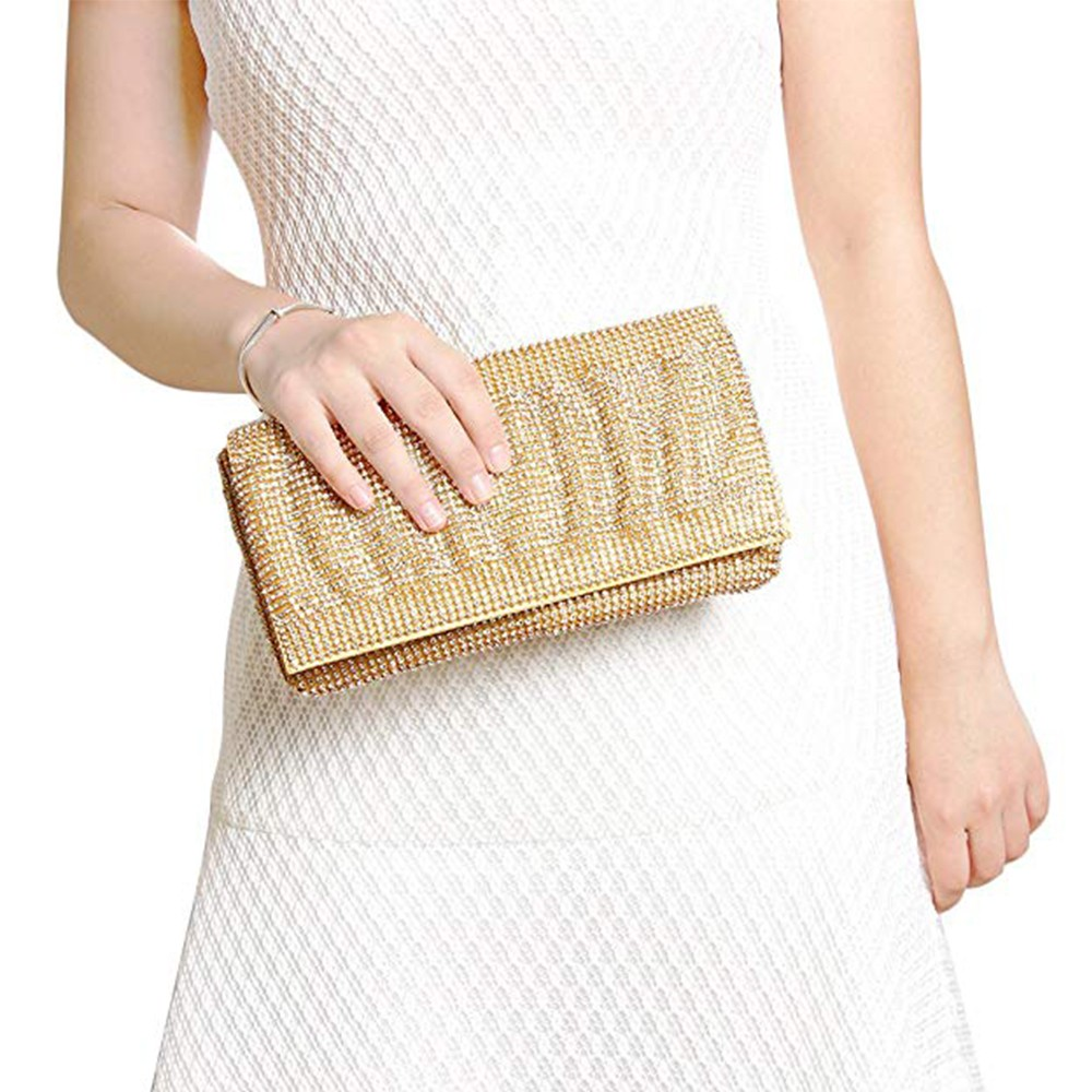 Exquisite Wedding Party Clutch Purse, Sparkling Crystal Ladies Evening Bag Rhinestone Handbag - Gold 8