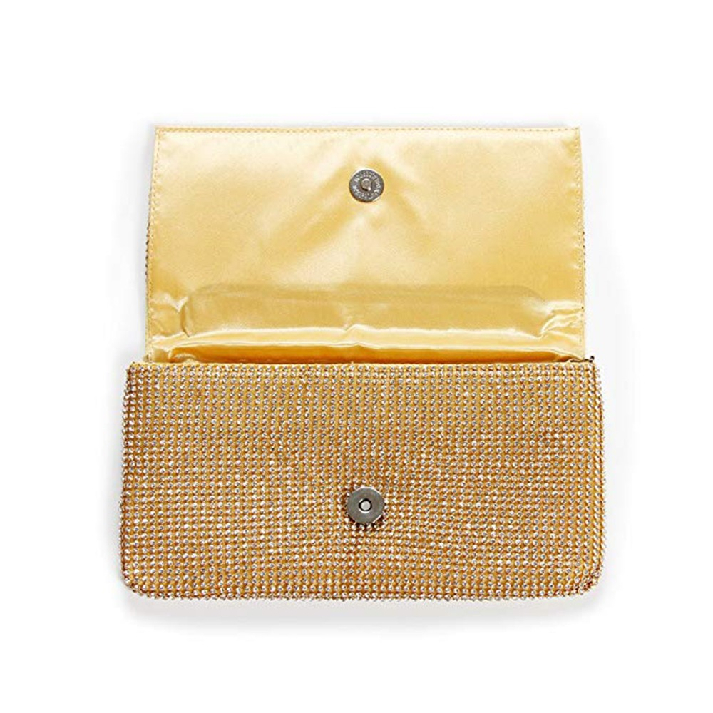 Exquisite Wedding Party Clutch Purse, Sparkling Crystal Ladies Evening Bag Rhinestone Handbag - Gold 9