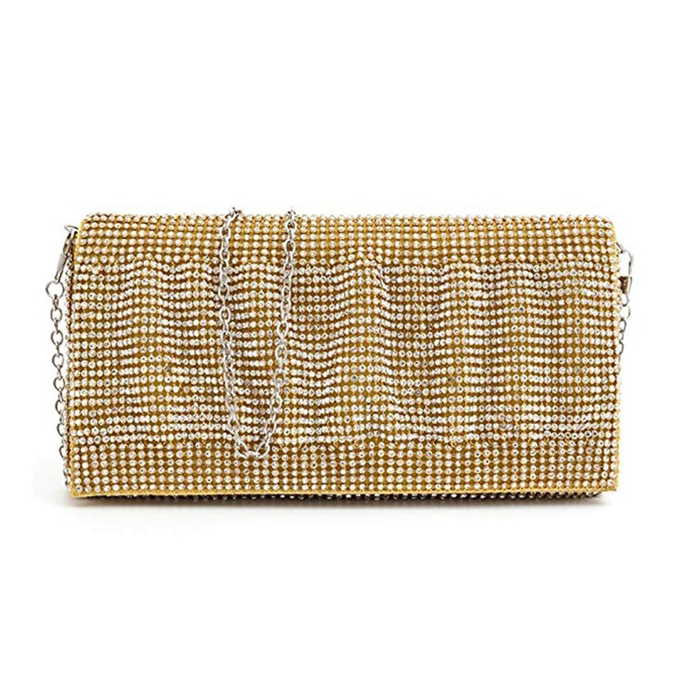 Exquisite Wedding Party Clutch Purse, Sparkling Crystal Ladies Evening Bag Rhinestone Handbag - Gold 10