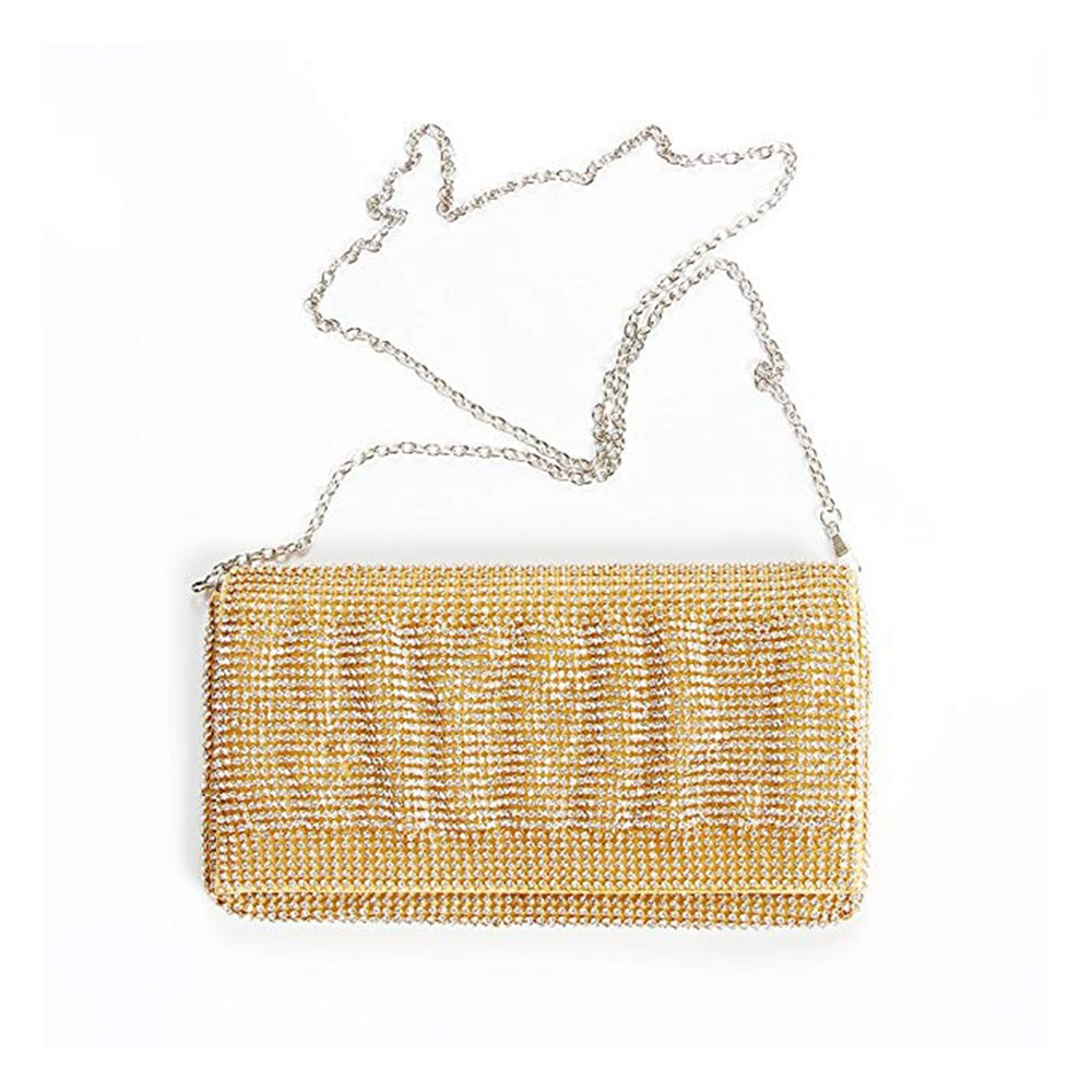 Exquisite Wedding Party Clutch Purse, Sparkling Crystal Ladies Evening Bag Rhinestone Handbag - Gold 5