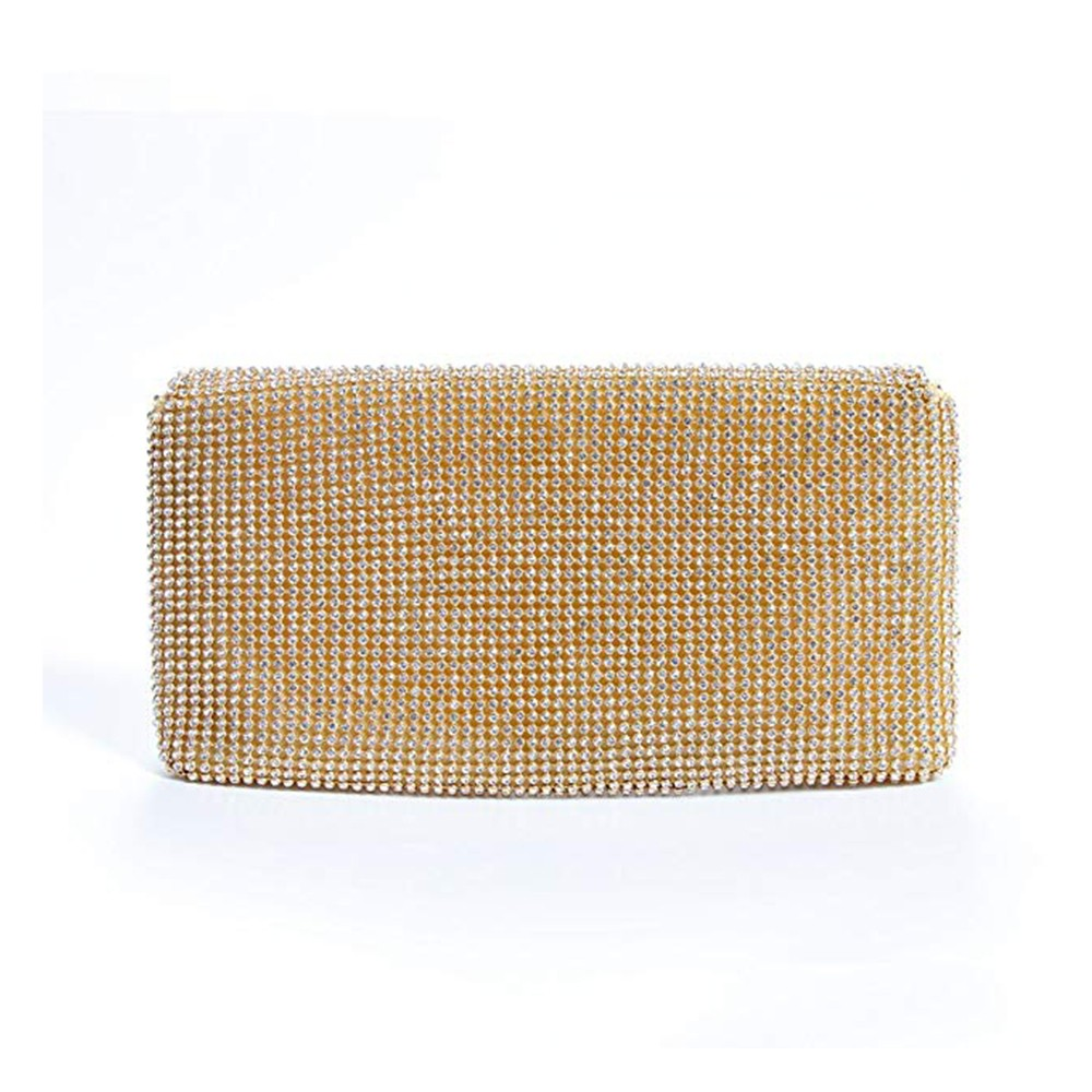 Exquisite Wedding Party Clutch Purse, Sparkling Crystal Ladies Evening Bag Rhinestone Handbag - Gold 12