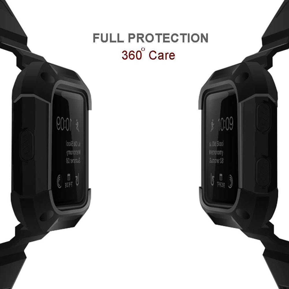 Shockproof Replacement Bands with Frame for Fitbit Blaze, Sport Silicone Protective Case with Strap Bands for Fitbit Blaze Smart Fitness Watch 4