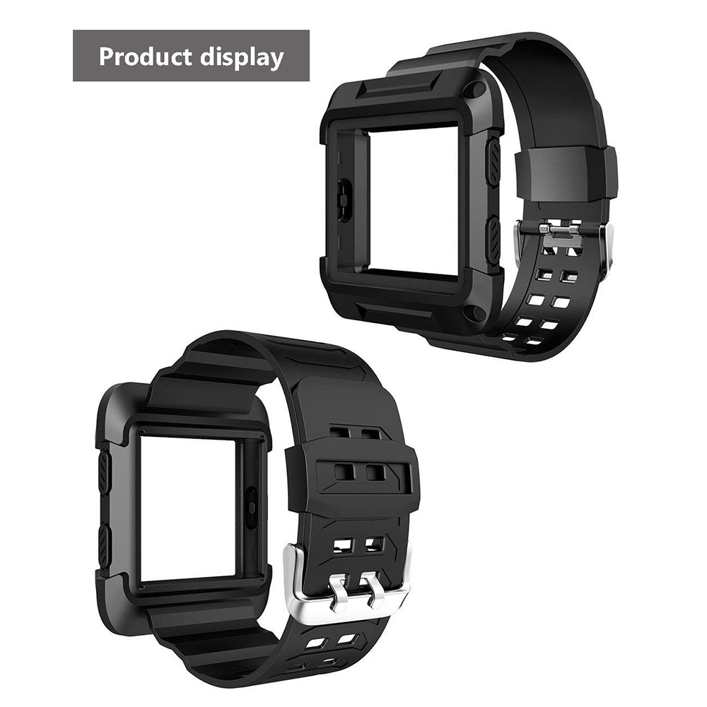 Shockproof Replacement Bands with Frame for Fitbit Blaze, Sport Silicone Protective Case with Strap Bands for Fitbit Blaze Smart Fitness Watch 10