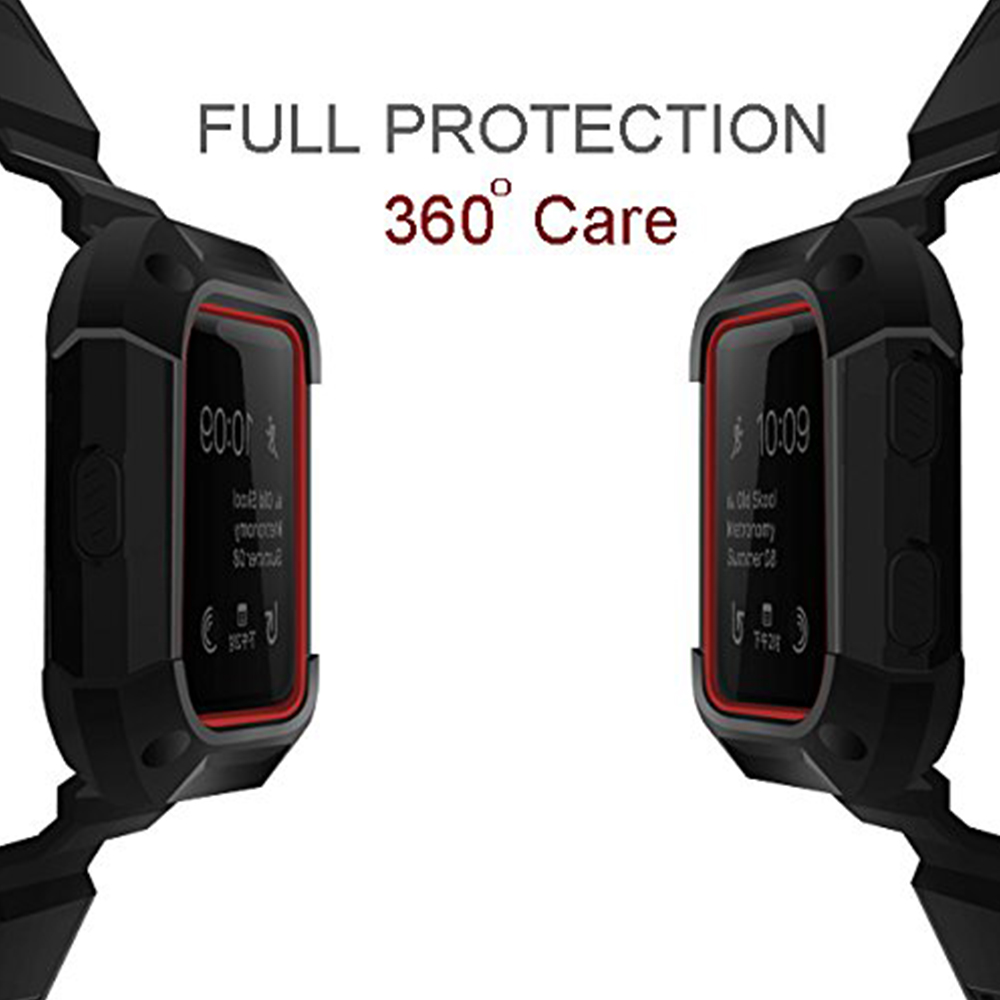 Shockproof Replacement Bands with Frame for Fitbit Blaze, Sport Silicone Protective Case with Strap Bands for Fitbit Blaze Smart Fitness Watch 8