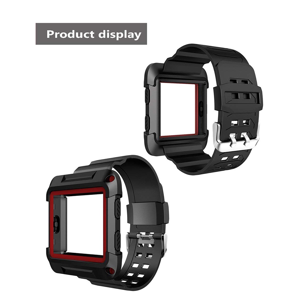 Shockproof Replacement Bands with Frame for Fitbit Blaze, Sport Silicone Protective Case with Strap Bands for Fitbit Blaze Smart Fitness Watch 17