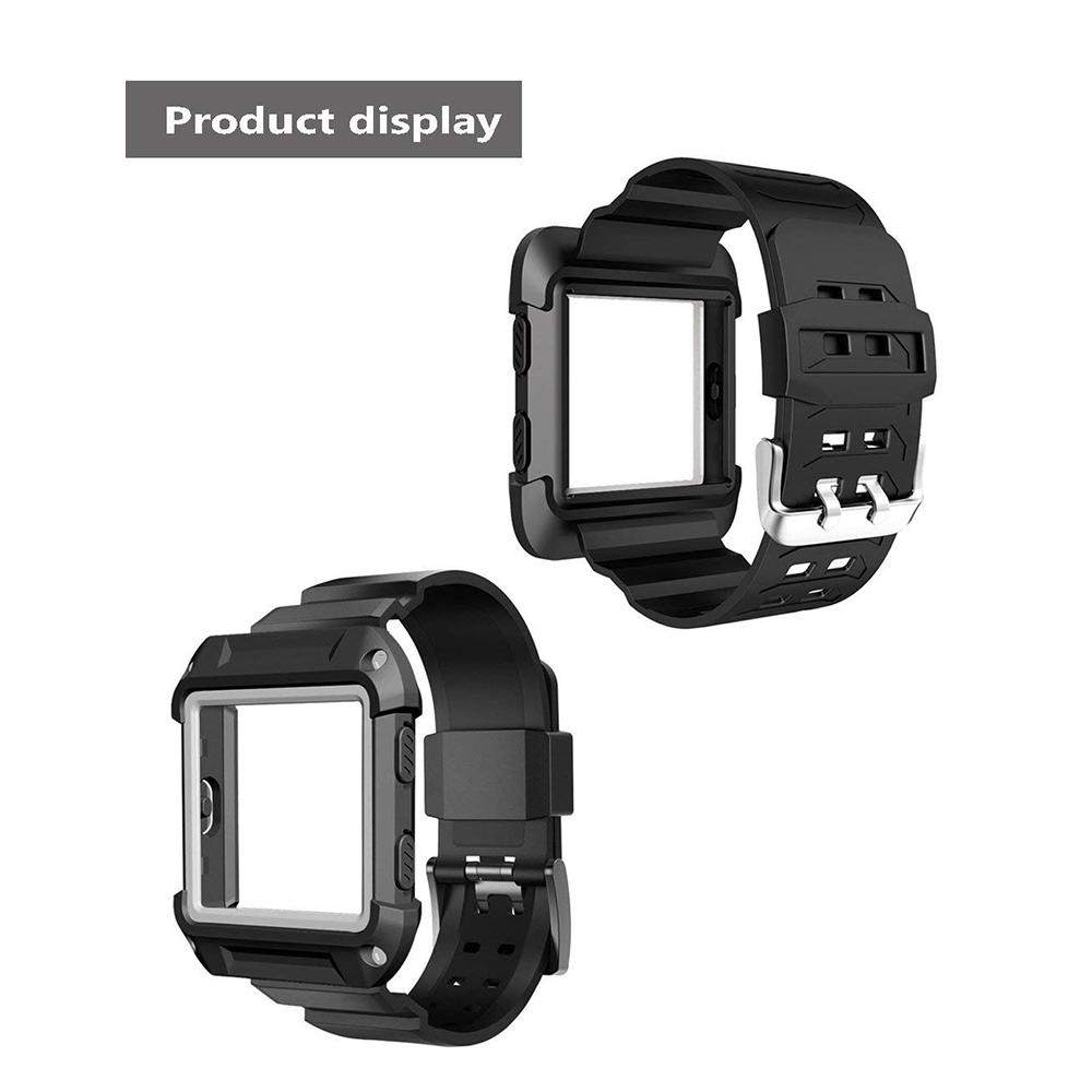 Shockproof Replacement Bands with Frame for Fitbit Blaze, Sport Silicone Protective Case with Strap Bands for Fitbit Blaze Smart Fitness Watch 23