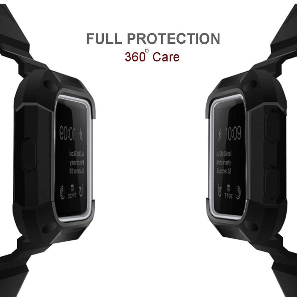 Shockproof Replacement Bands with Frame for Fitbit Blaze, Sport Silicone Protective Case with Strap Bands for Fitbit Blaze Smart Fitness Watch 25