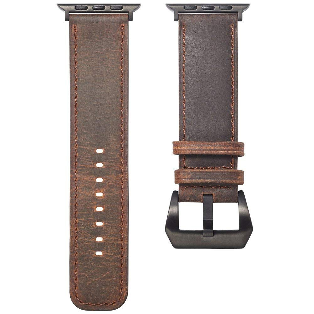 Apple Watch Band Replacement 38mm, Genuine Leather Strap with Adjustable Buckle for Apple Watch Series 3/2/1 9