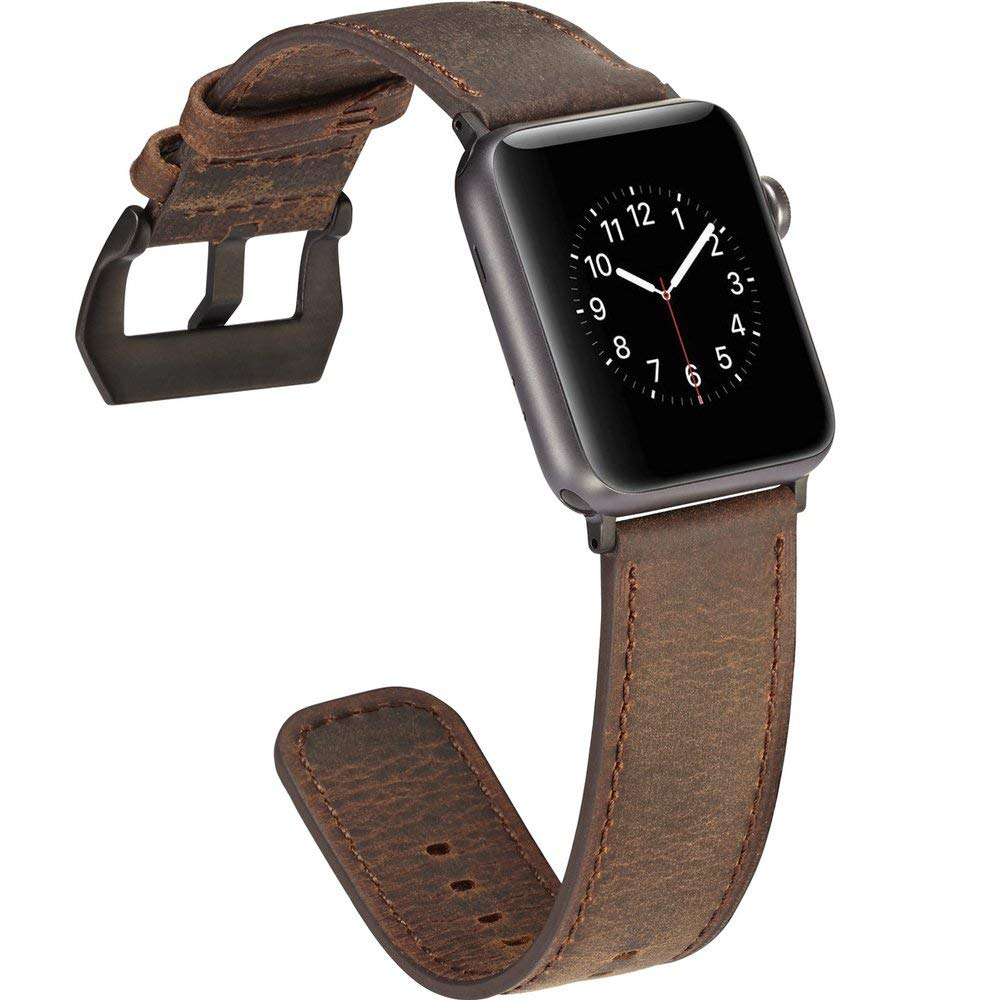 Apple Watch Replacement Band 38mm, Genuine Leather Strap with Adjustable Buckle for Apple Watch Series 3/2/1 4