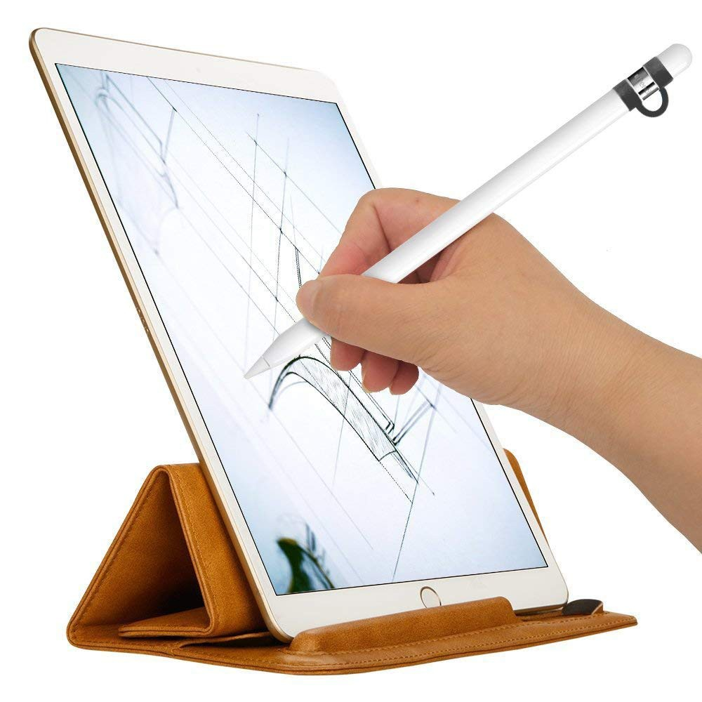 Anti-lost Apple Pencil Protective Sleeve with Cap Holder, Soft Silicone Holder Case for iPad Pro 9.7/10.5 Pencil 4