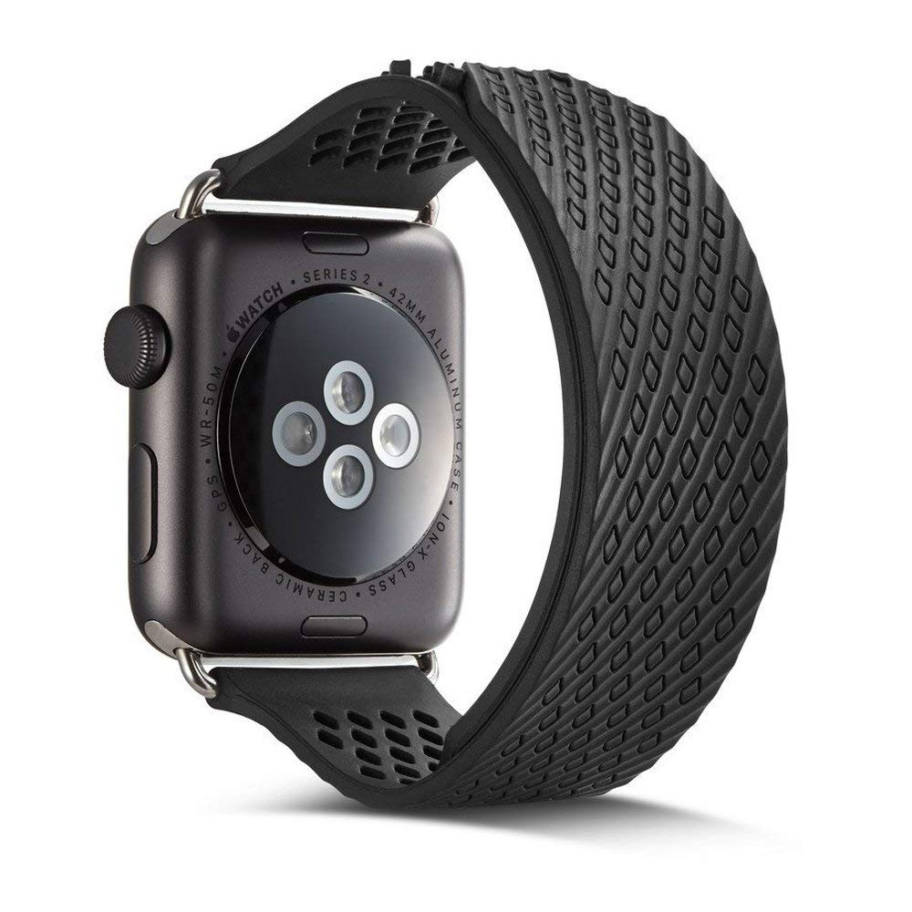 Soft Silicone Apple Watch Band, Sport Replacement Strap with Ventilation Holes for Apple Iwatch 42 mm All Models 13
