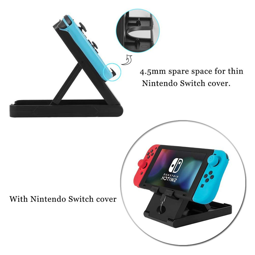 Compact Charging Playstand for Nintendo Switch, Portable Nintendo Switch Stand Holder with Adjustable Multi-angle,Black 5