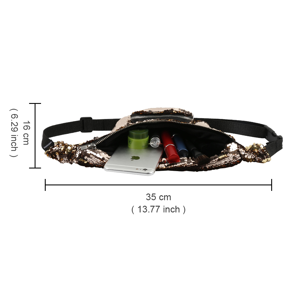 Shiny Waist Bag with Adjustable Strap for Women, Fashion Fanny Pack for Beach, Concert, Festival, Carnival 15