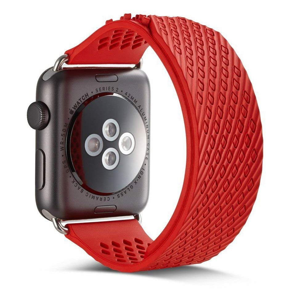 Soft Silicone Apple Watch Band, Sport Replacement Strap with Ventilation Holes for Apple Iwatch 42 mm All Models 1